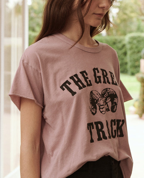 The Crop Tee. -- Orchid With Ram Graphic