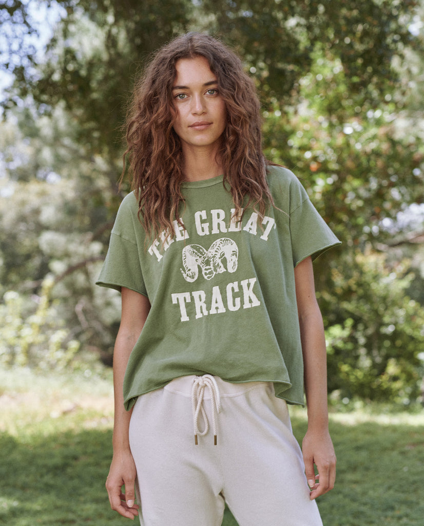 The Crop Tee. -- Sunlit Army With Ram Graphic