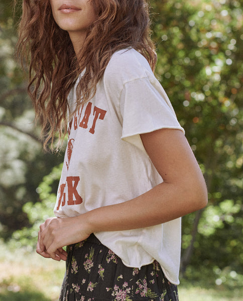 The Crop Tee. -- Washed White With Ram Graphic