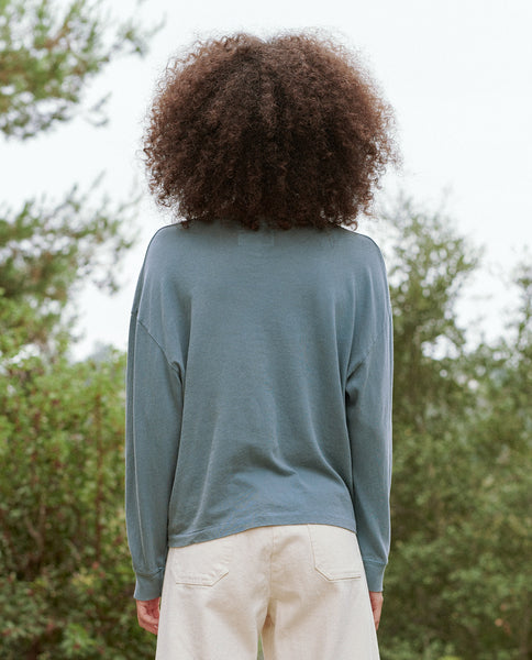 The Cropped Cuff Tee. -- GAUCHO BLUE WITH COYOTE GRAPHIC.