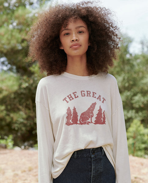 The Cropped Cuff Tee. -- Washed White With Coyote Graphic