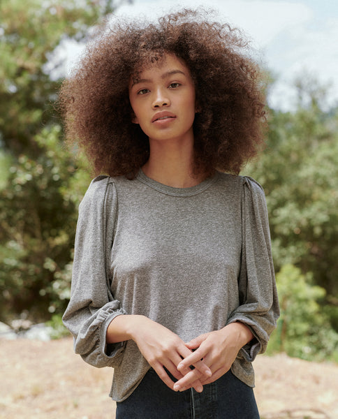 The Cropped Pleat Sleeve Tee. -- Heather Grey