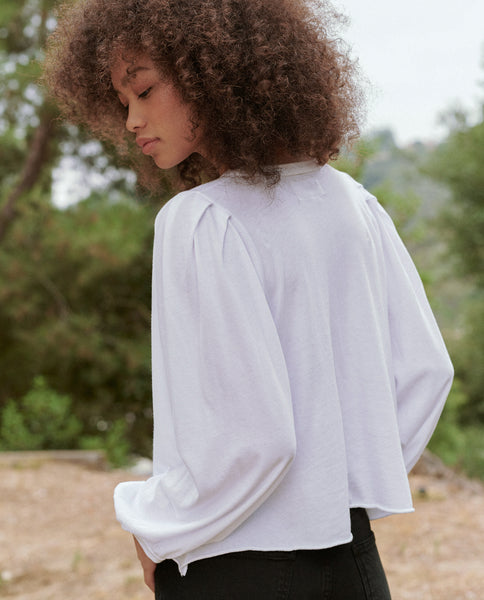 The Cropped Pleat Sleeve Tee. -- True White