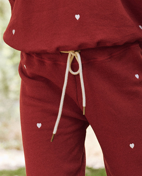 The Cropped Sweatpant. Embroidered -- Holly With Heart Embroidery