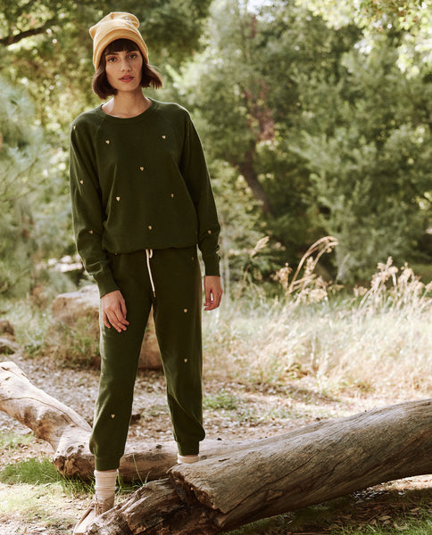 The Cropped Sweatpant. Embroidered -- Army With Heart Embroidery