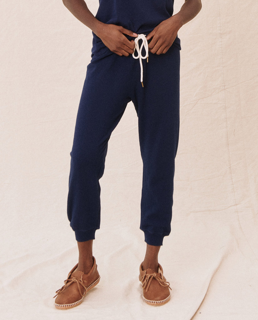 The Cropped Sweatpant. Solid -- BRIGHT NAVY