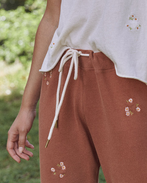 The Cropped Sweatpant. Embroidered -- Carob With Daisy Bouquet Embroidery