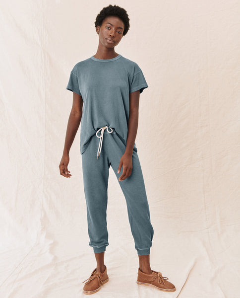 The Cropped Sweatpant. Solid -- GAUCHO BLUE