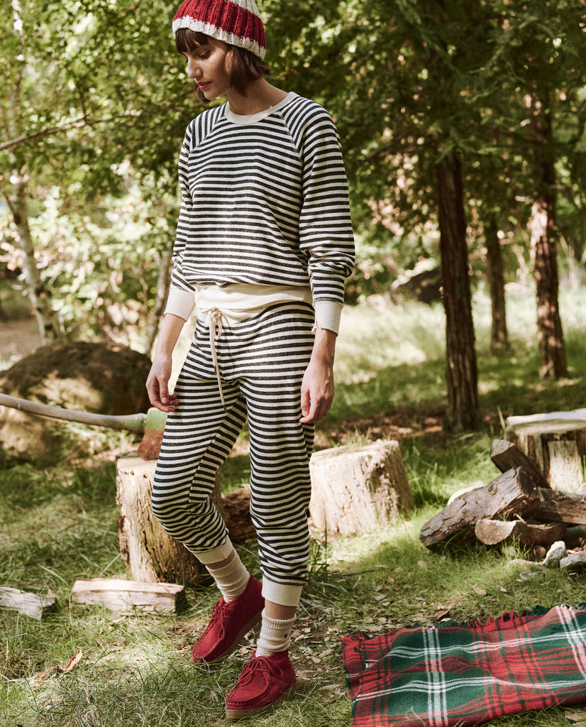 The Cropped Sweatpant. Novelty -- Black Stocking Stripe