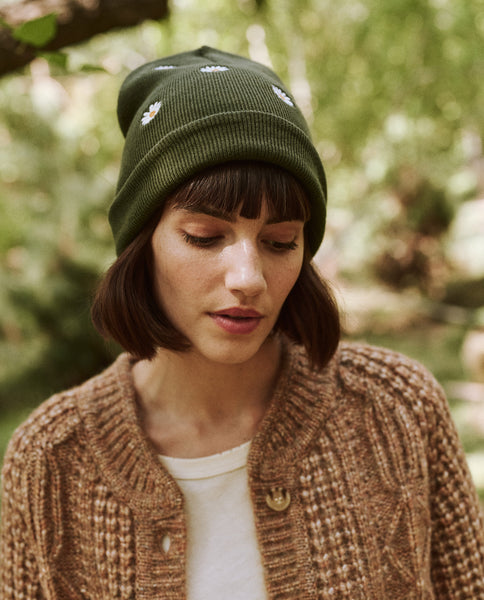 The Embroidered Beanie. -- Olive Daisy