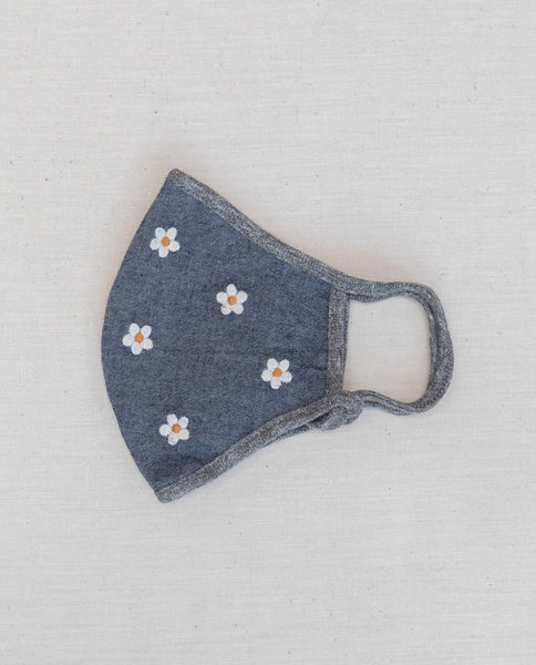 The Embroidered Face Mask. -- Chambray with Cream Flower Embroidery