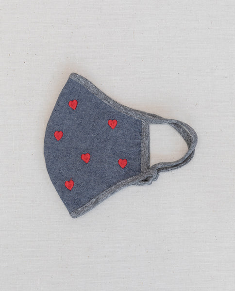 The Embroidered Face Mask. -- Chambray with Red Heart Embroidery