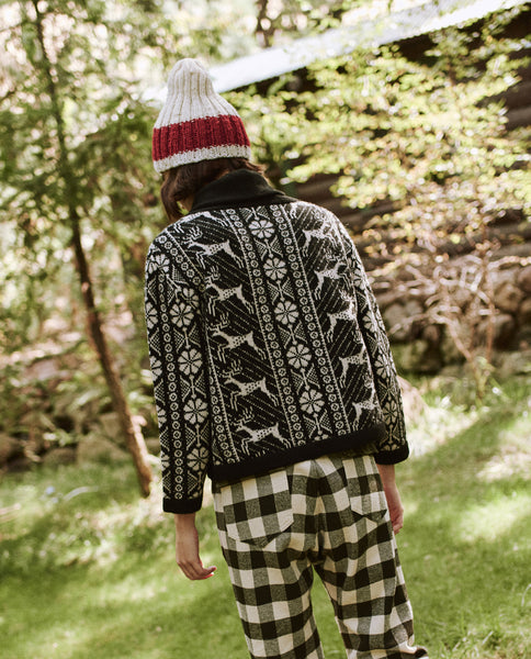 The Folktale Lodge Cardigan. -- Almost Black with Cream