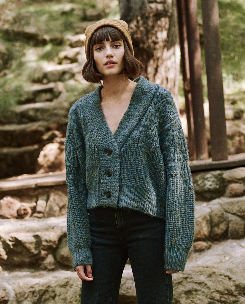 The Frond Montana Cardigan. -- Pine Needle Shimmer
