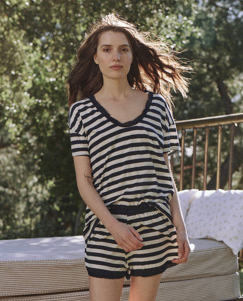 The Lace Tee. -- MIDNIGHT & WASHED WHITE STRIPE