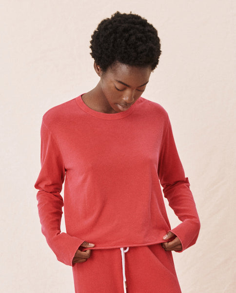 The Long Sleeve Crop Tee. -- BARN RED
