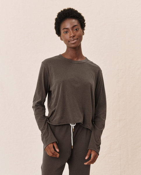 The Long Sleeve Crop Tee. -- CHESTNUT