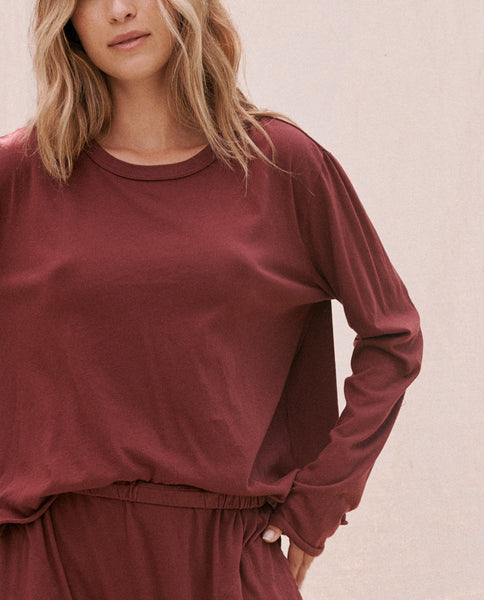 The Long Sleeve Crop Tee. -- Maroon
