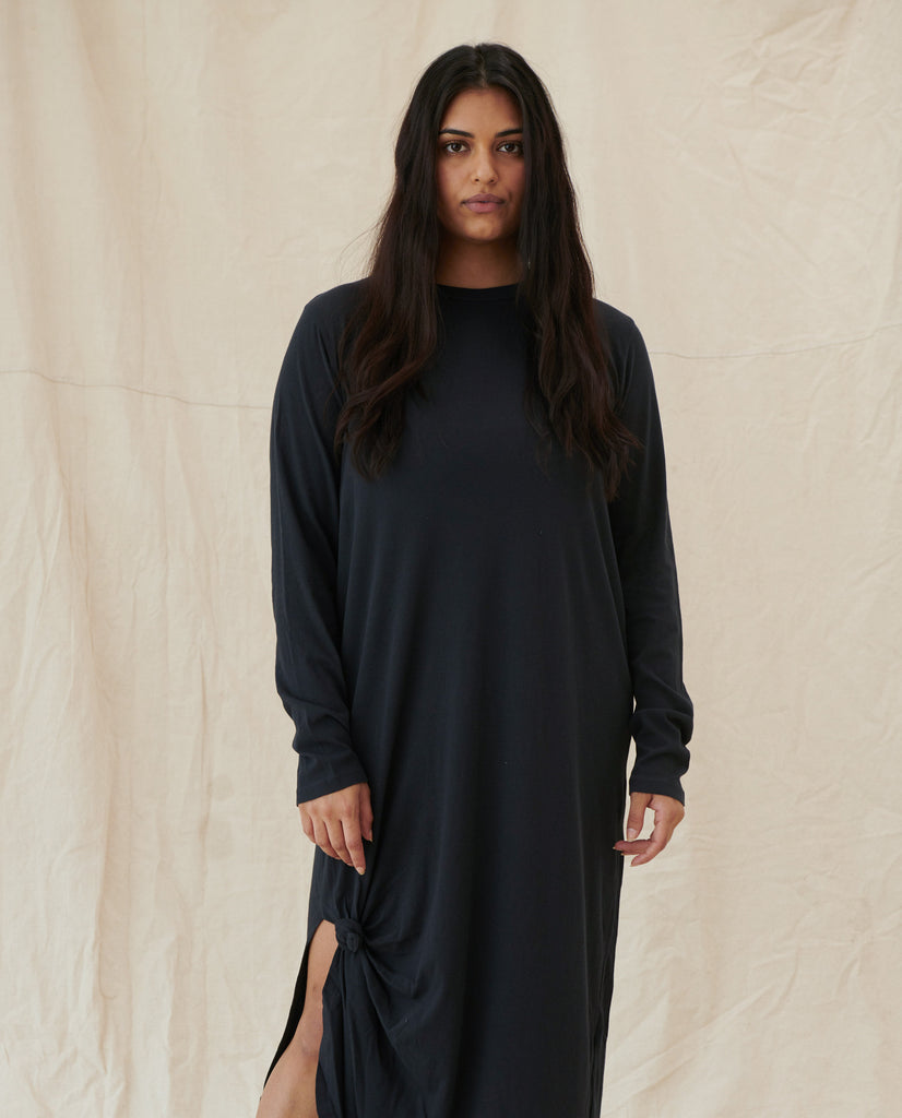 The Long Sleeve Knotted Tee Dress. -- Almost Black