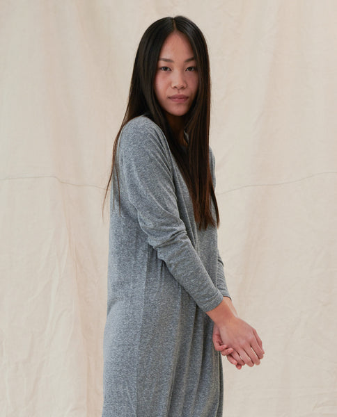 The Long Sleeve Knotted Tee Dress. -- Heather Grey