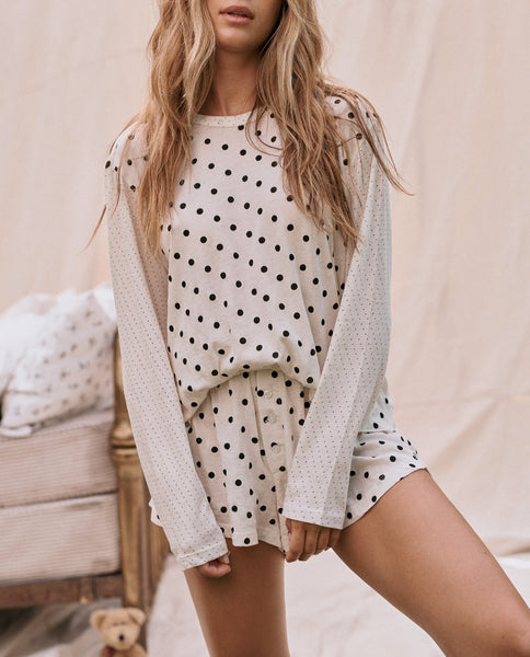 The Long Sleeve Sleep Tee. -- Washed White Mix Dot