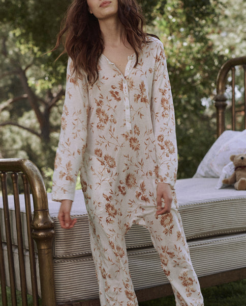 The Long Sleeve Sleeper Jumpsuit. -- CLAY AUTUMN FLORAL