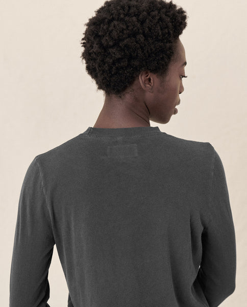 The Long Sleeve Slim Tee. Solid -- WASHED BLACK