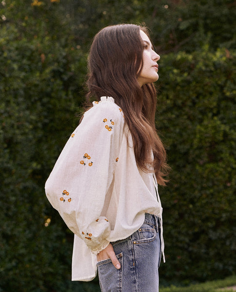The Posey Top. -- Cream With Daisy Bouquet Embroidery