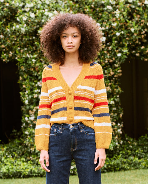 The Sailing Cardigan. -- Golden Yellow Stripe