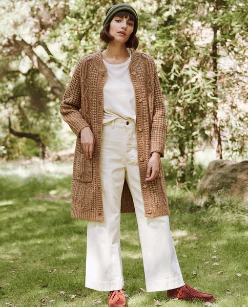 The Long Cable Cardigan. -- Caramel Marl