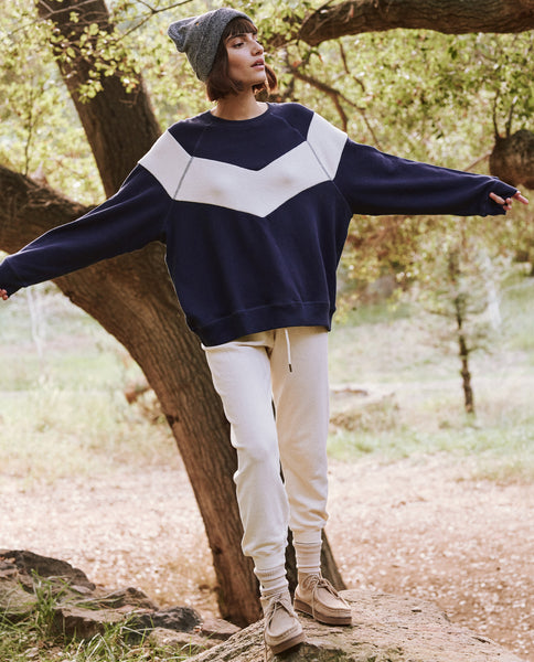 The Sherpa Chevron Sweatshirt. -- Deep Sea Blue