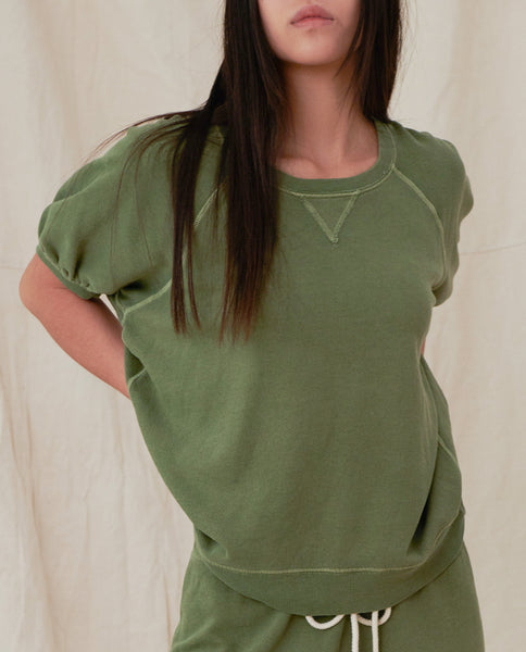 The Short Sleeve Puff Sweatshirt. -- HEATHER SUNLIT ARMY