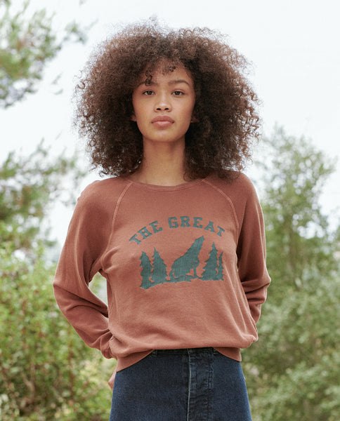 The Shrunken Sweatshirt. -- Copper with Coyote Graphic