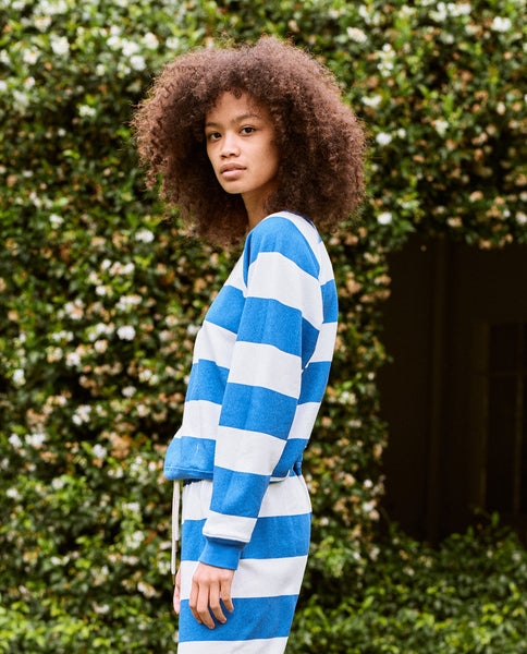The Shrunken Sweatshirt. -- Sailor Blue Boating Stripe