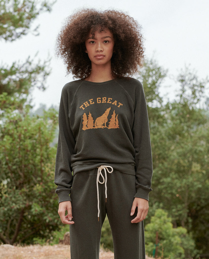 The Shrunken Sweatshirt. -- Washed Black with Coyote Graphic