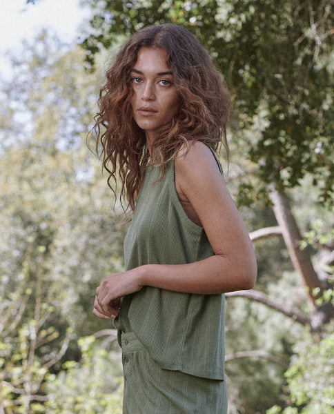The Pointelle Sleep Muscle Tee. -- Olivine