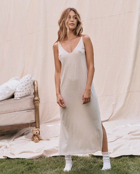 The Slip Dress. -- Washed White Micro Dot