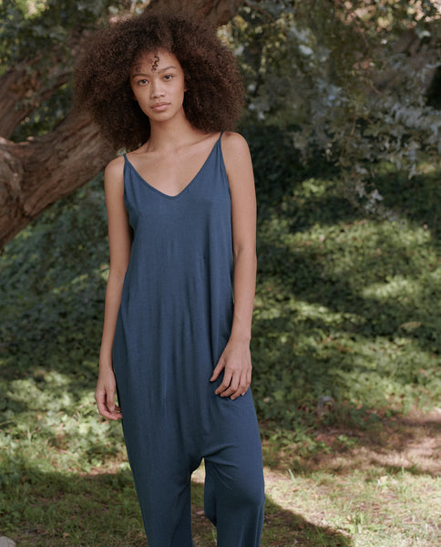 The Slip Sleeper Jumpsuit. -- DEEP SEA BLUE