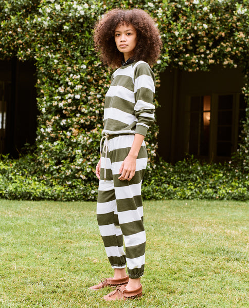 The Stadium Sweatpant. Novelty -- Olive Boating Stripe
