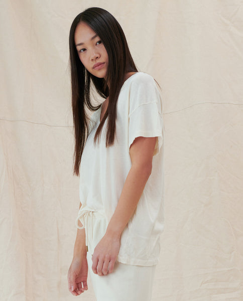 The U-Neck Tee. Solid -- Washed White