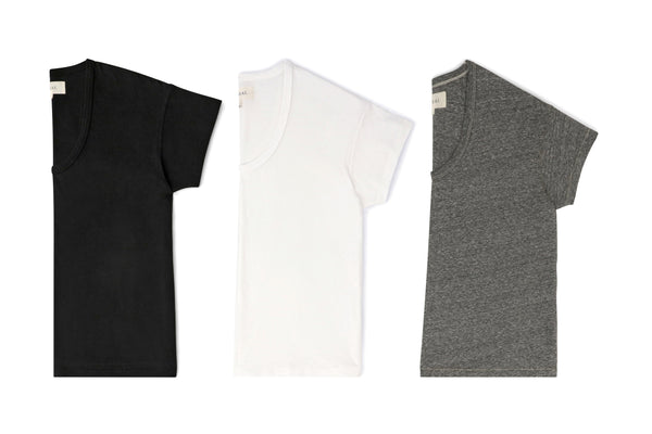 The U-Neck Tee Set. -- True White/ Heather Grey/ Almost Black