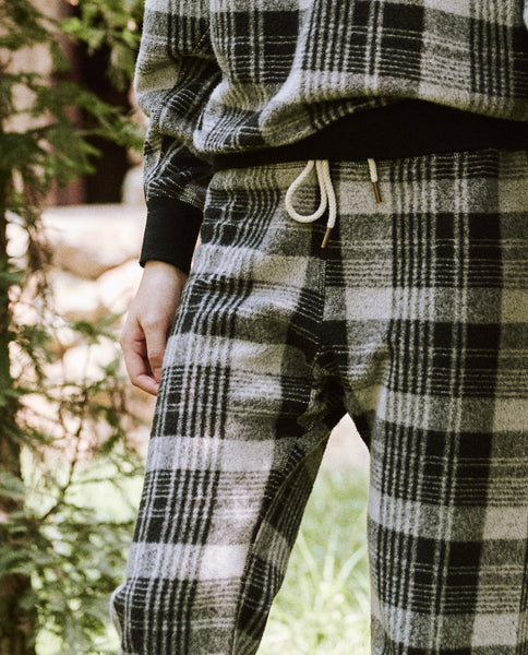 The Warm Up Sweatpant. -- Black Lumber Plaid