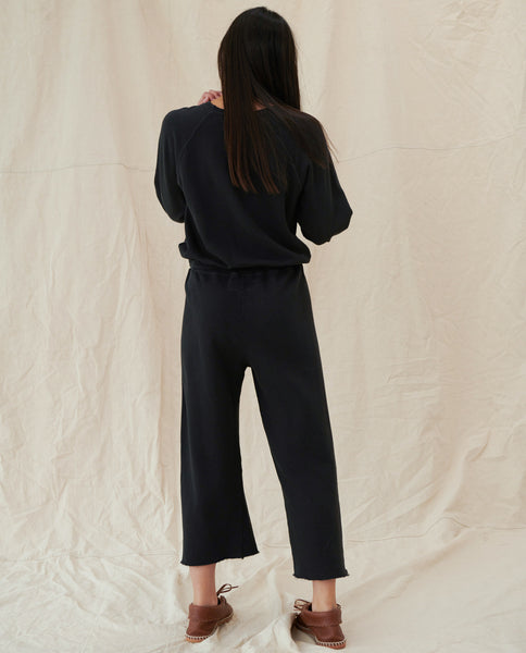 The Wide Leg Cropped Sweatpant. -- Almost Black