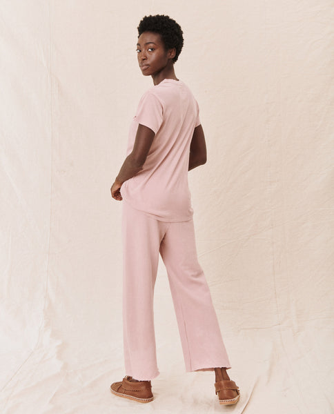 The Wide Leg Cropped Sweatpant. -- CARNATION