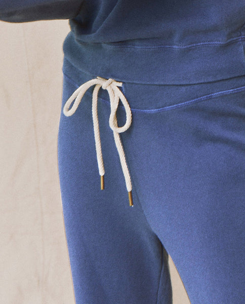 The Wide Leg Cropped Sweatpant. -- Lake Blue