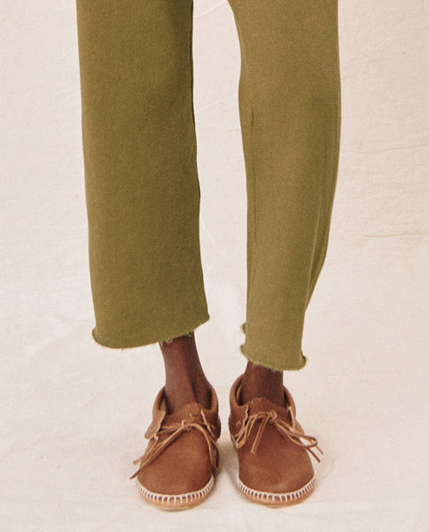 The Wide Leg Cropped Sweatpant. -- OLIVE LEAF