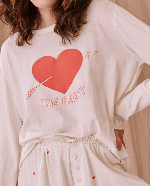 The Long Sleeve Sleep Tee. -- WASHED WHITE  With Heart Graphic