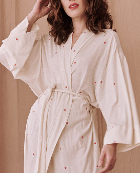 The Robe. -- WASHED WHITE With VALENTINE HEARTS
