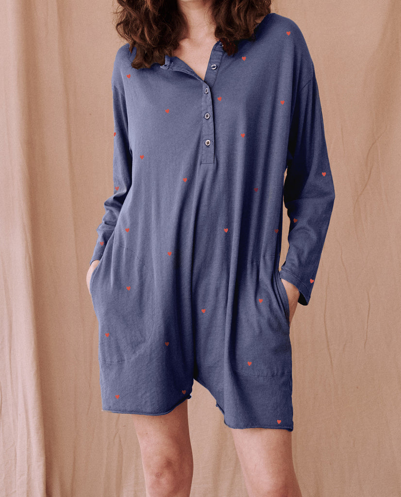 The Henley Romper. -- NAVY With VALENTINE HEARTS