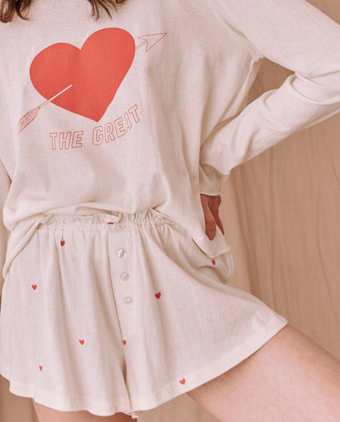 The Tap Short. -- WASHED WHITE With VALENTINE HEARTS